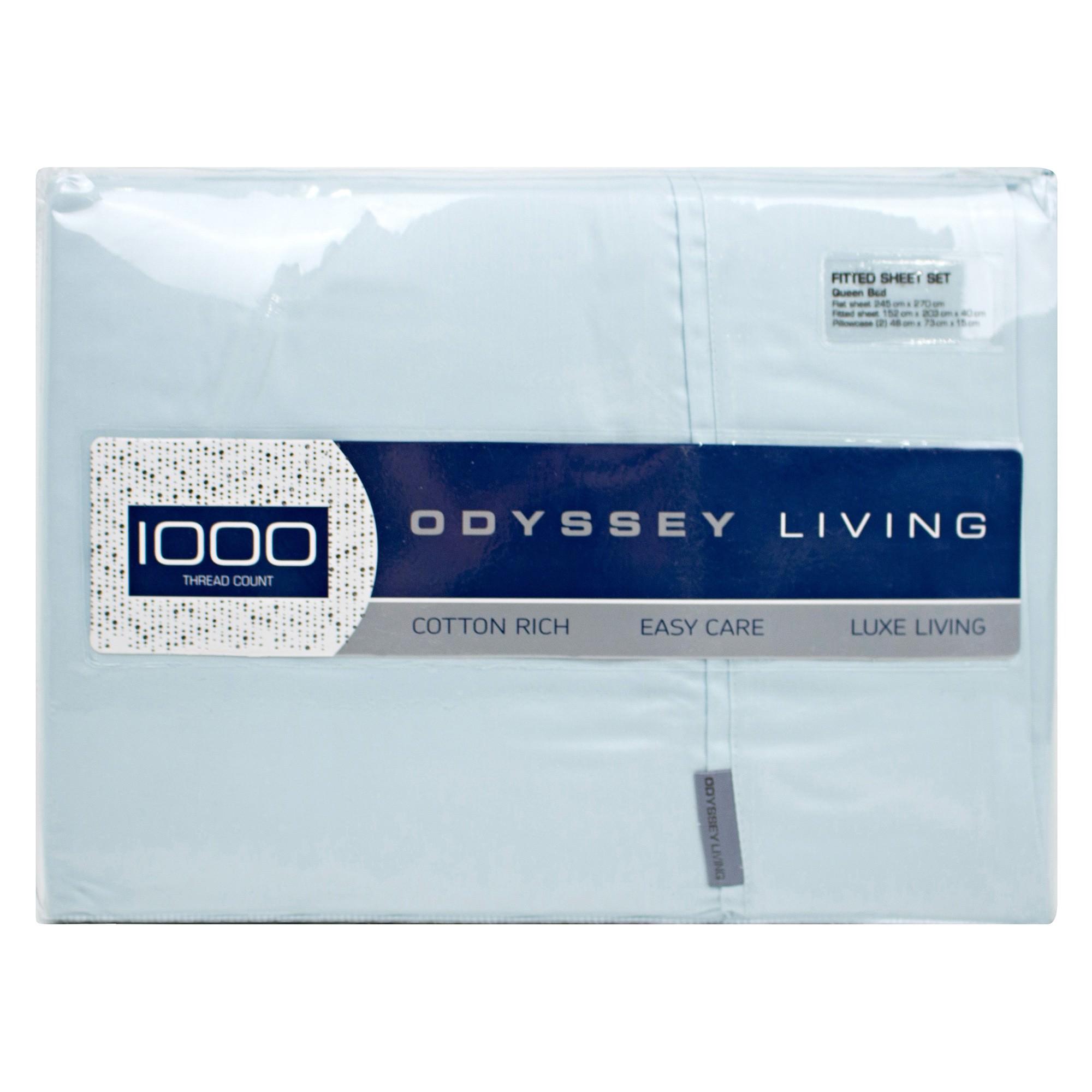 Odyssey Living 1000TC Cotton Rich Sheet Set, Double, Harbour Mist