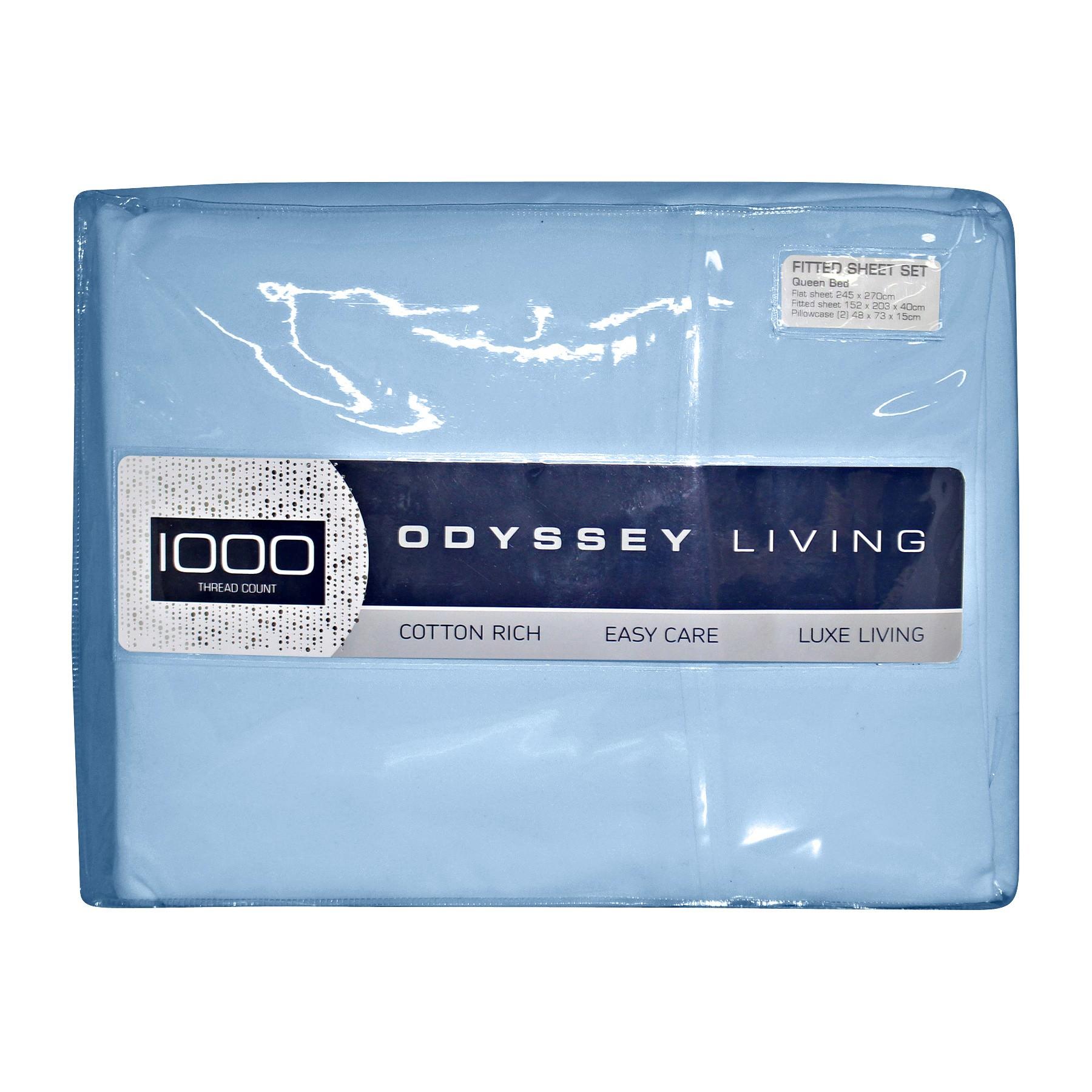 Odyssey Living 1000TC Cotton Rich Sheet Set, Double, Blue