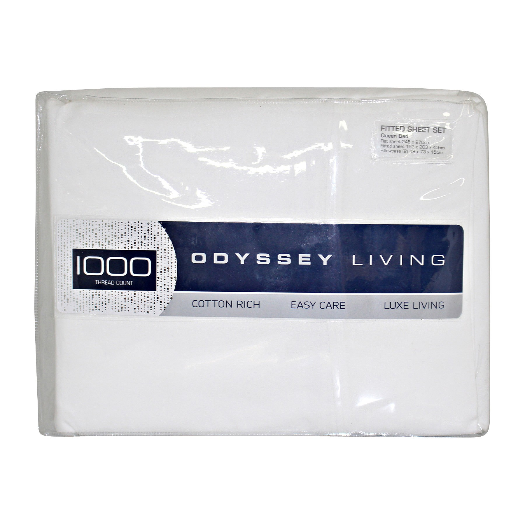 Odyssey Living 1000TC Cotton Rich Sheet Set, Queen, White