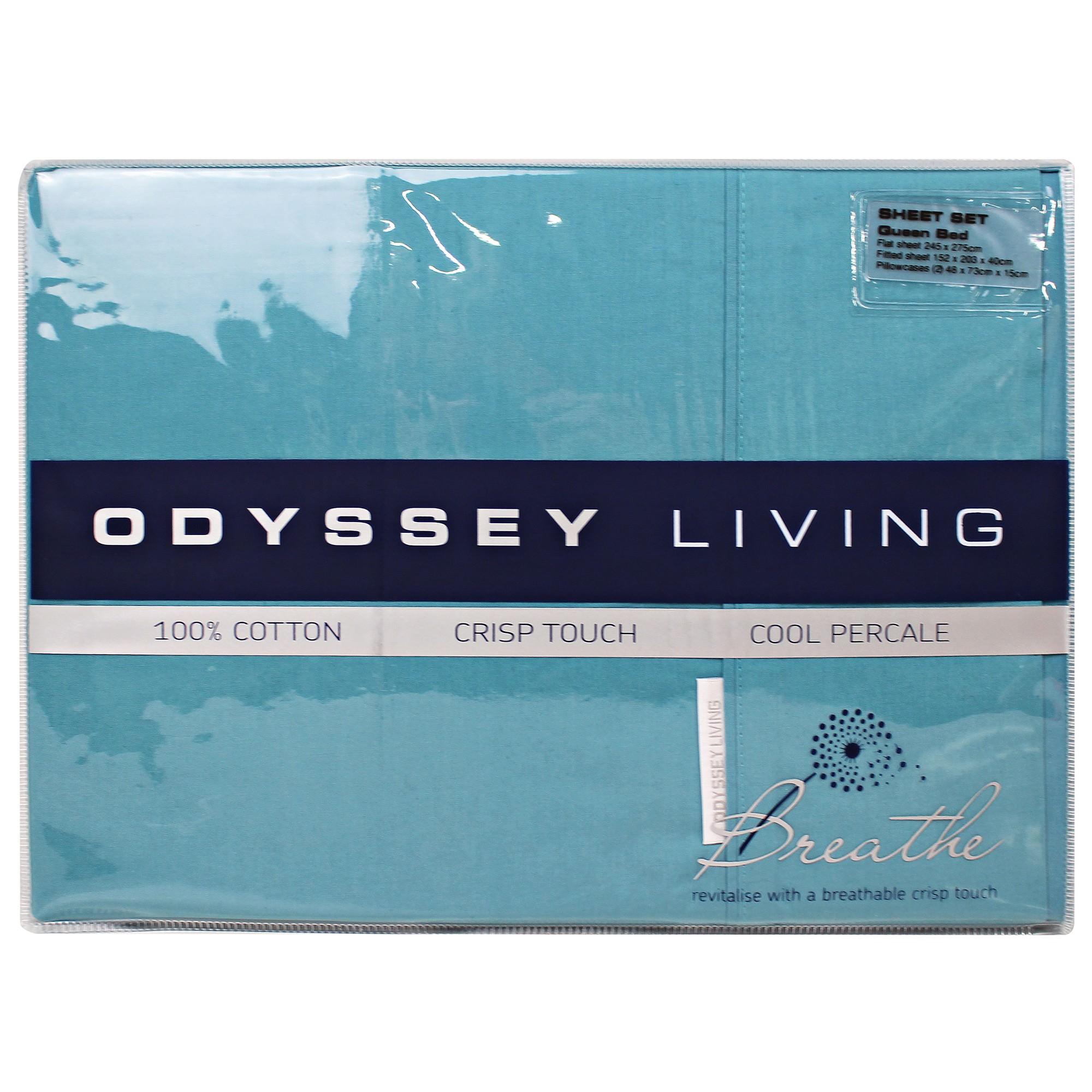 Odyssey Living Breathe 100% Cotton Sheet Set, Queen, Baltic Blue