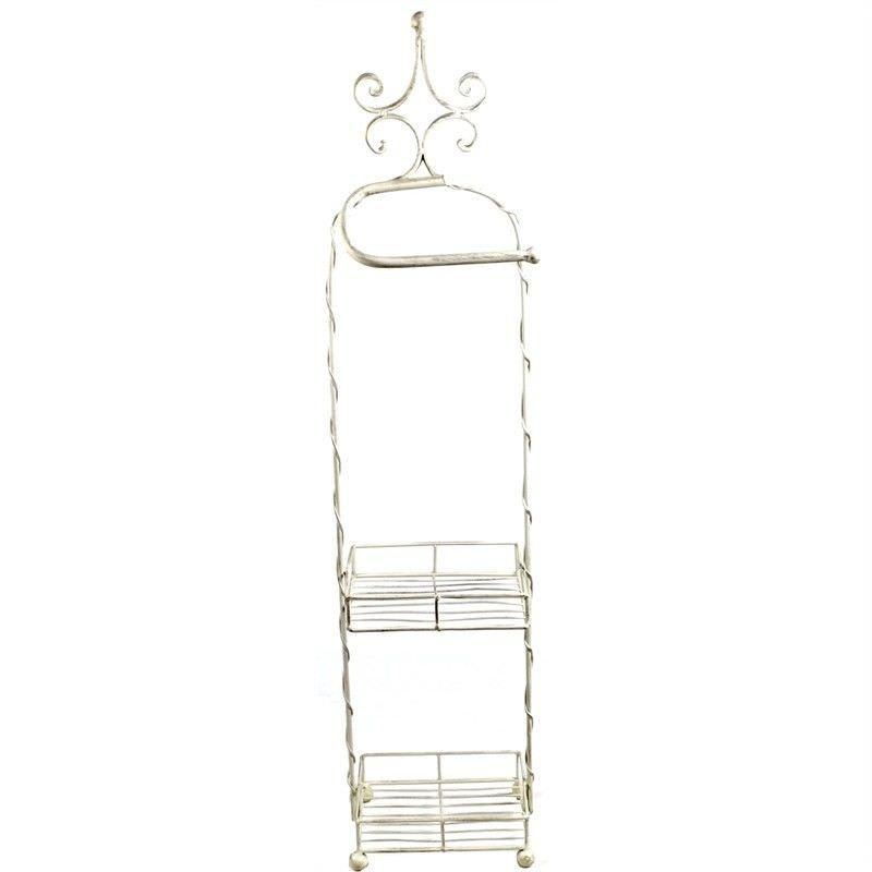Metal Wire 2 Shelf Bathroom Stand with Towel Rail - Cream