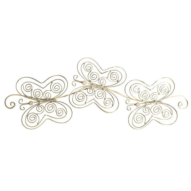 Beatrice Triple Butterfly Metal Wall Decor - Cream