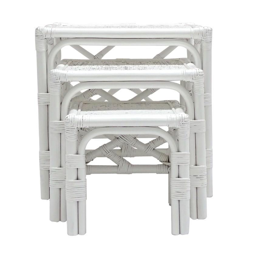 Cripps 3 Piece Bamboo Rattan Nesting Table Set, White
