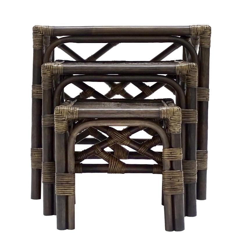 Cripps 3 Piece Bamboo Rattan Nesting Table Set, Cigar
