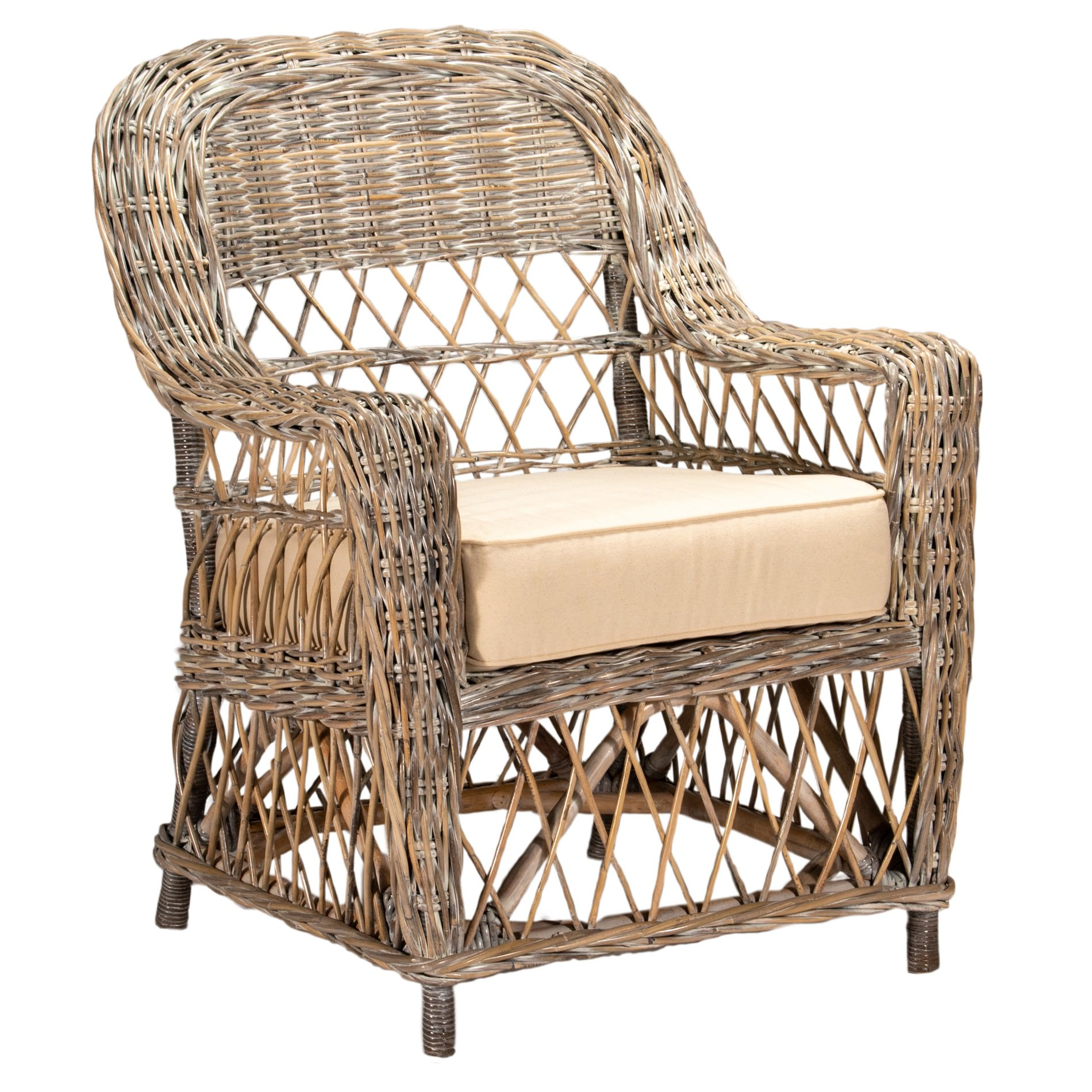Palmetto Rattan Armchair, White Washed Natural