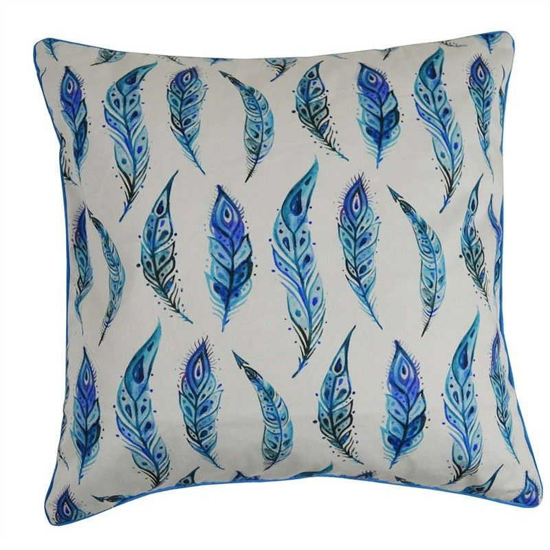 Blue Feathers II Cotton Scatter Cushion