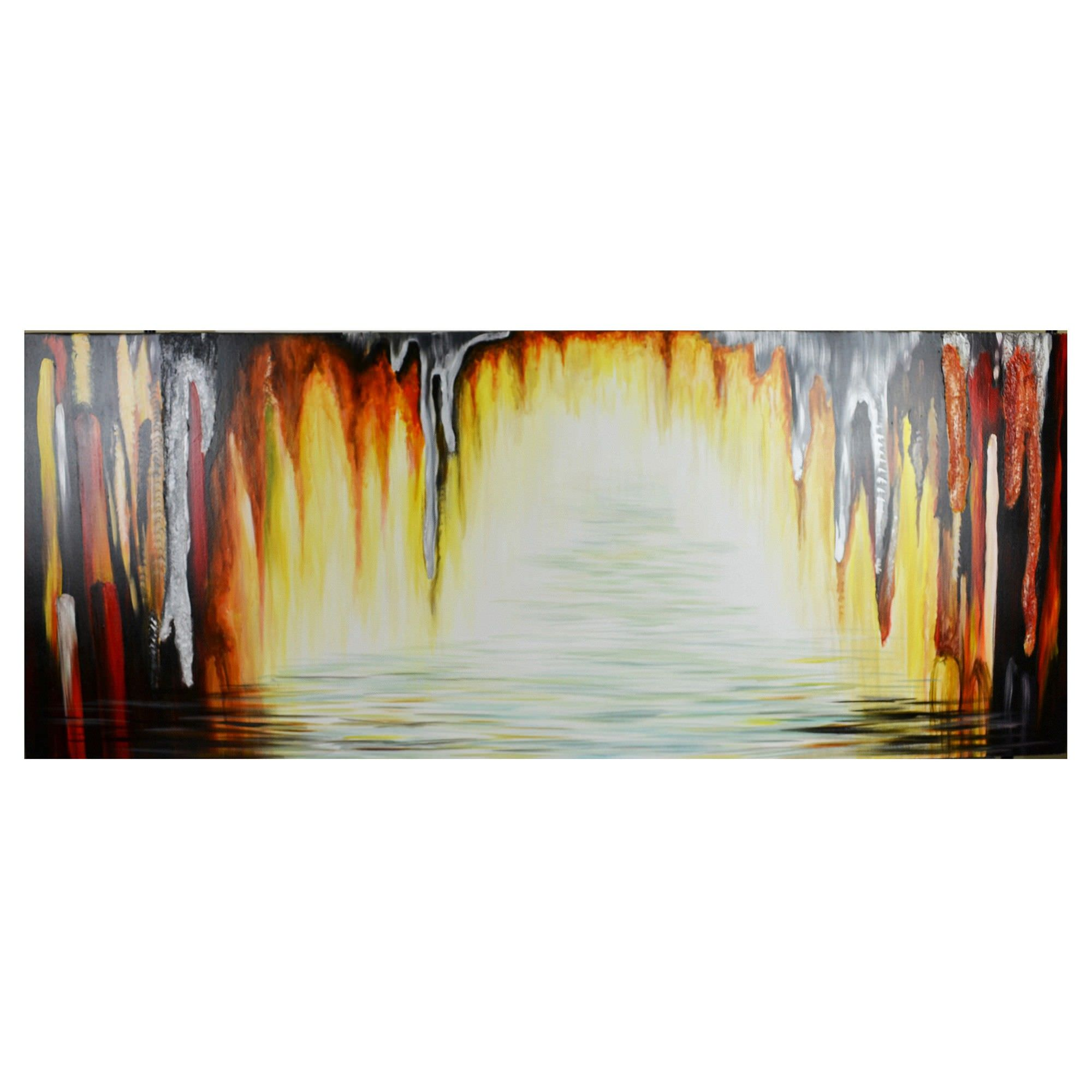 Streched Canvas Abstract Painting Wall Art, Stalactites Cave River, 150Cm