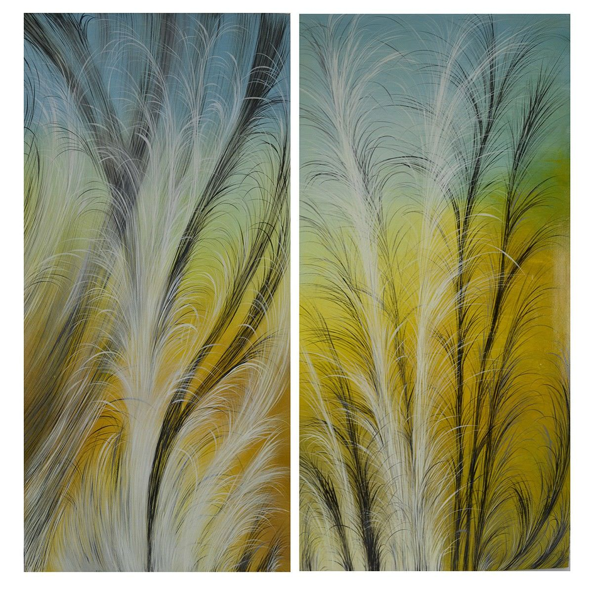 2 Piece Streched Canvas Painting Wall Art Set Reed 120cm