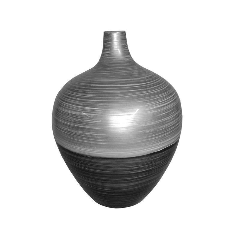 Kepen Large Lacquered Fiberglass Vase - Black/Grey