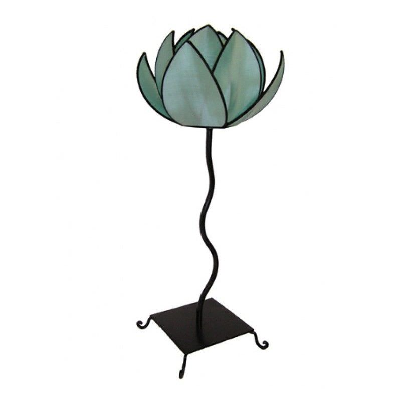 Rovan Silk Lotus Floor Lamp, Small, Aqua