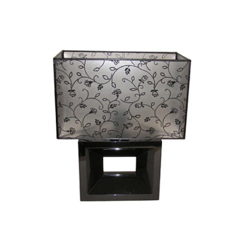 Rovan 44cm Black and Black Floral Shade Table Lamp