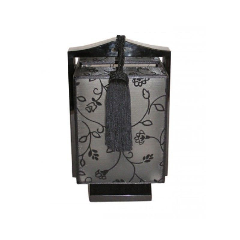 Rovan 24.5cm Black and Black Floral Shade Square Lamp
