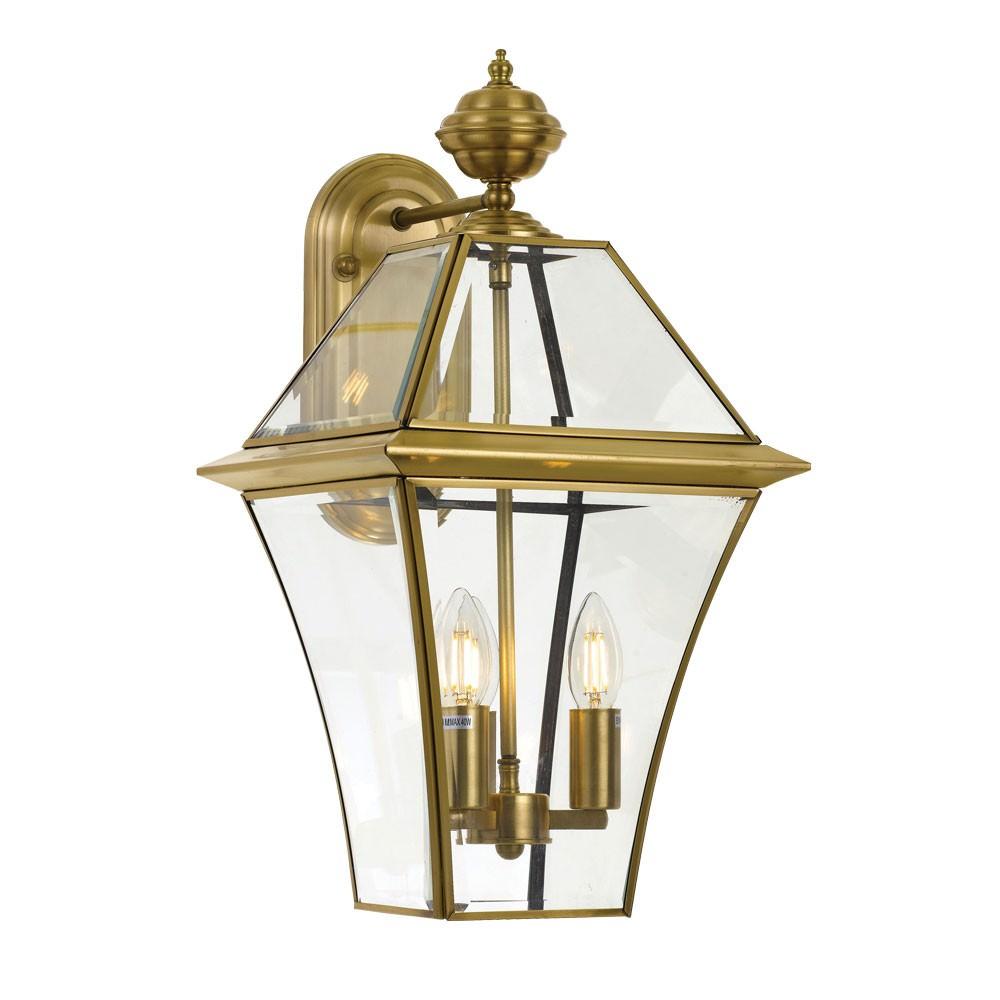 Rye IP44 Exterior Wall Lantern, Large, Antique Brass