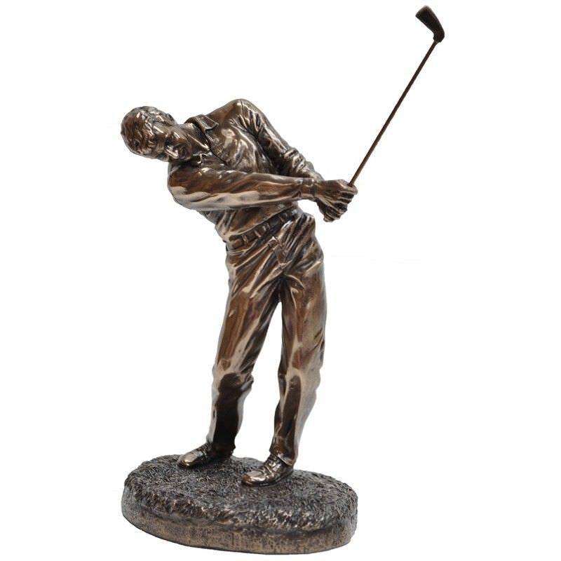 Veronese Cold Cast Bronze Coated Golf Player Figurine, Follow Through