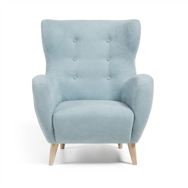 Pasha Fabric Upholstered Wingback Armchair - Turquoise
