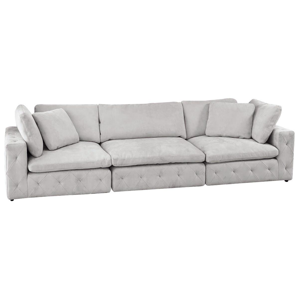 Sammy Fabric Sofa, 3 Seater, Light Grey