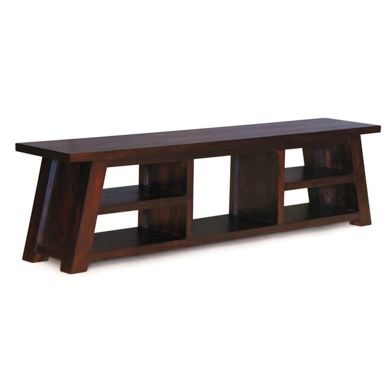 Showa Solid Mahogany Timber 190cm TV Unit - Chocolate