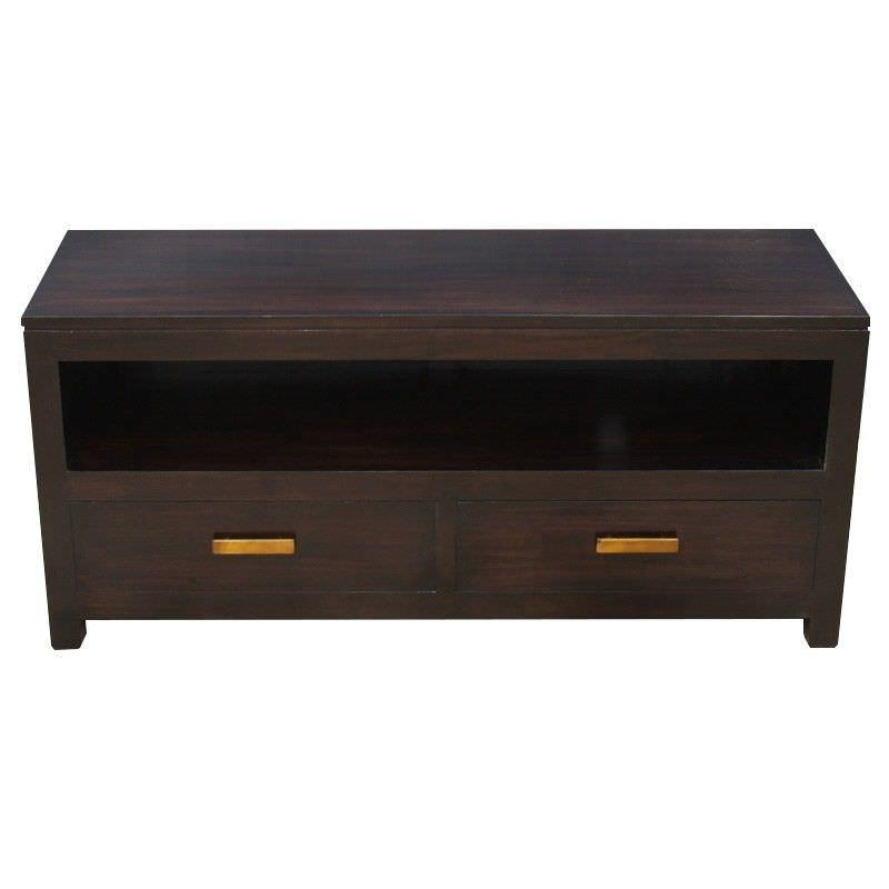 Milan Mahogany 2 Drawer TV Unit, 120cm, Chocolate