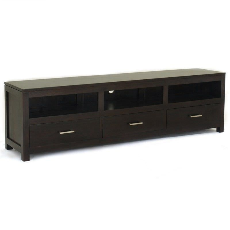 Paris Solid Mahogany Timber 3 Drawer 190cm TV Unit - chocolate