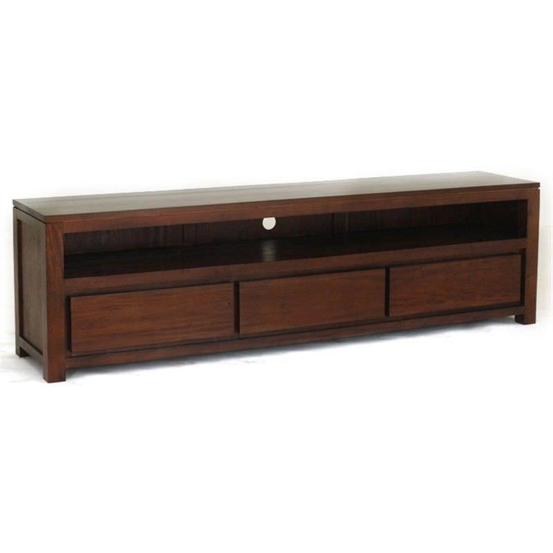 Amsterdam Solid Mahogany Timber 3 Drawer 190cm TV Unit - Mahogany