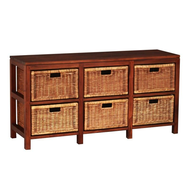 Solid Mahogany Timber Storage Unit with 6 Rattan Baskets, Mahogany