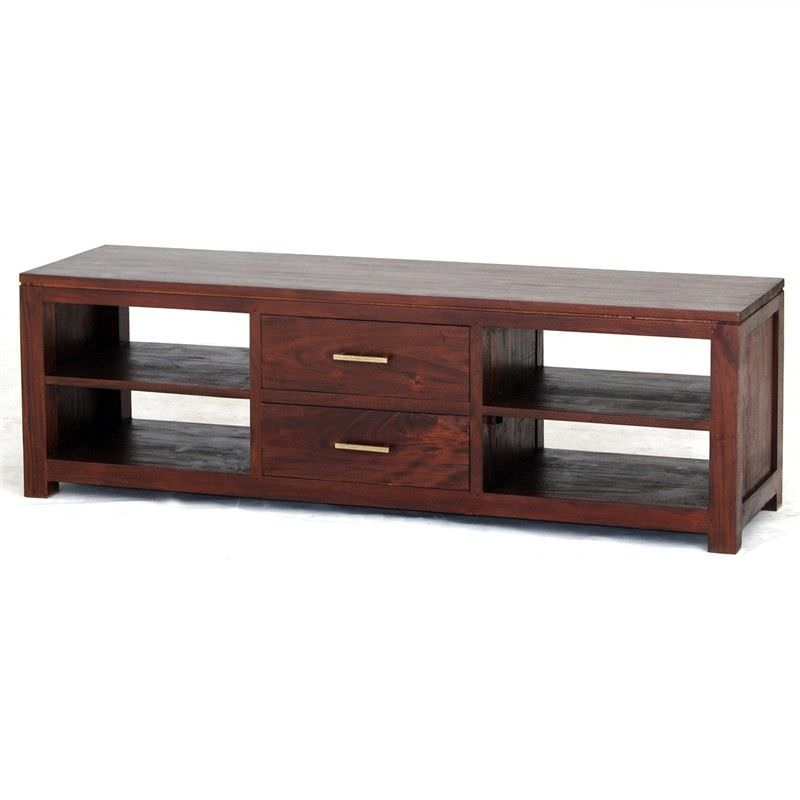 Paris Solid Mahogany Timber Middle Drawer 160cm TV Unit - Mahogany