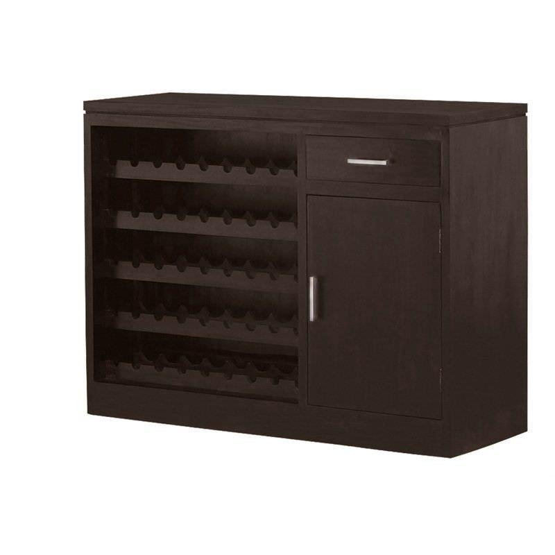 Paris Solid Mahogany Timber 1 Door 1 Drawer 120cm Sideboard with Wine Racks - Chocolate