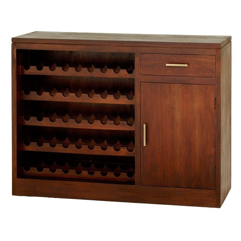 Paris Solid Mahogany Timber 1 Door 1 Drawer 120cm Sideboard with Wine Racks - Mahogany