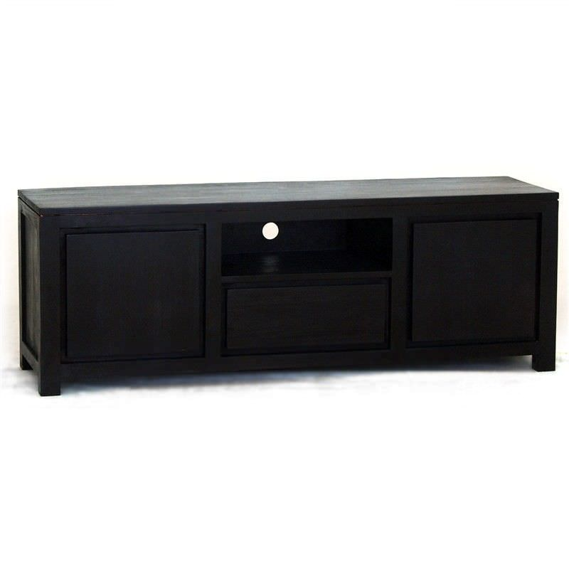 Amsterdam Solid Mahogany Timber 2 Door Single Drawer 160cm TV Unit - Chocolate