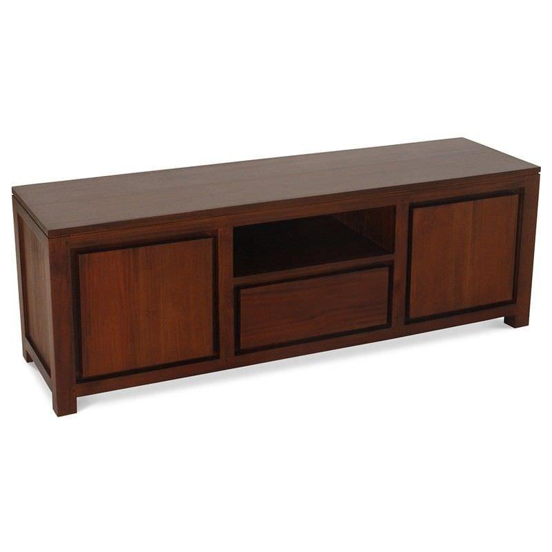 Amsterdam Solid Mahogany Timber 2 Door Single Drawer 160cm TV Unit - Mahogany