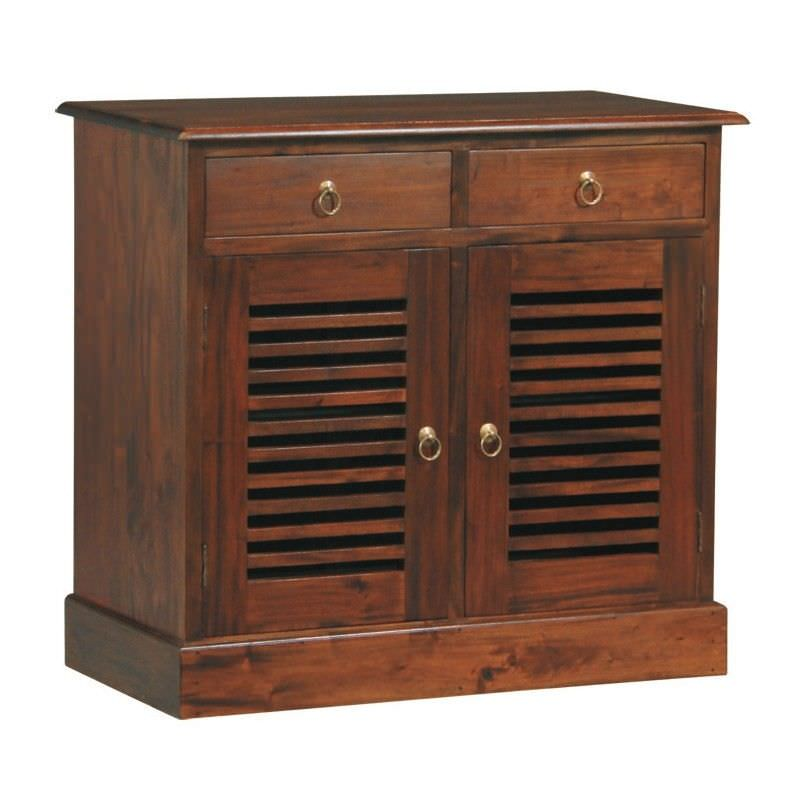 Hawaii Mahogany Timber 2 Door 2 Drawer Buffet Table, 100cm, Mahogany