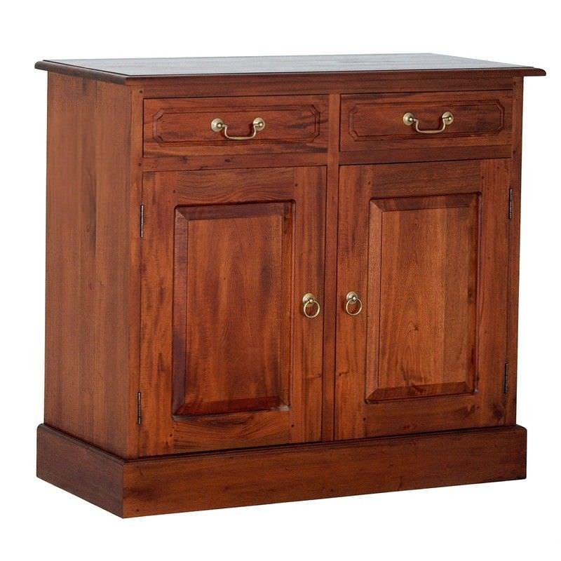 Tasmania Mahogany Timber 2 Door 2 Drawer 100cm Buffet Table, Light Pecan