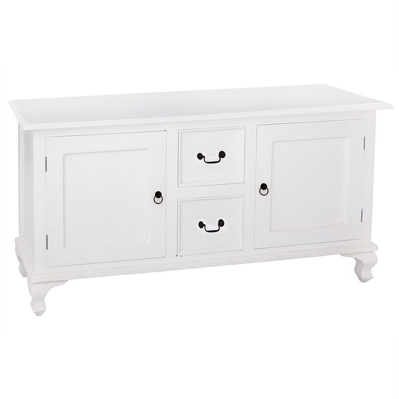 Queen Ann Solid Mahogany Timber 2 Door 2 Drawer 160cm Buffet Table - White
