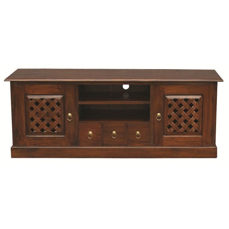 York 3 Drawer + 2 Weave Cupboard Solid Mahogany Entertainment Unit 160cm - Mahogany