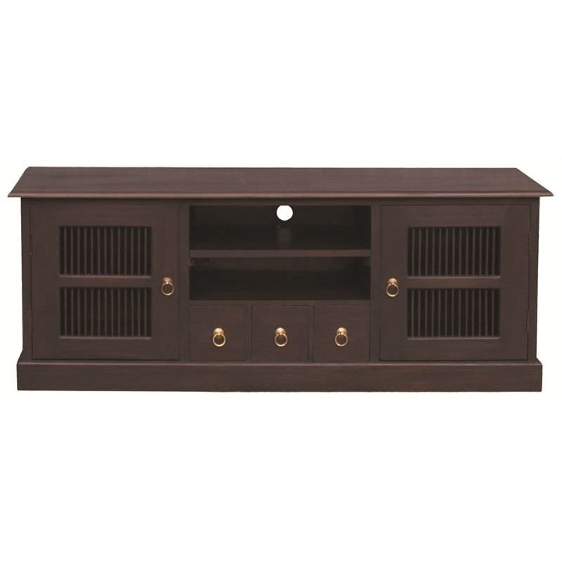 Ruji Solid Mahogany Timber 2 Door 3 Drawer 160cm TV Unit - Chocolate