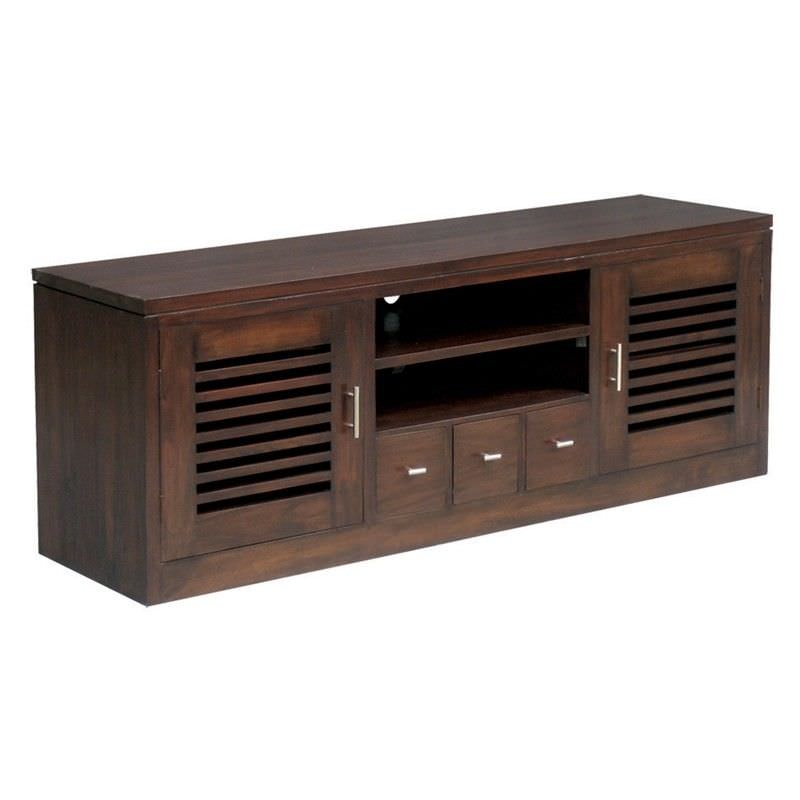 Holland Solid Mahogany 2 Door 3 Drawer Entertainment Unit  in Chocolate
