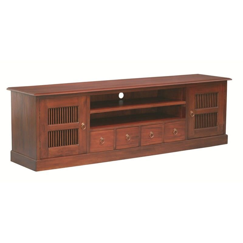 Ruji Solid Mahogany Timber 2 Door 4 Drawer 200cm TV Unit - Mahogany