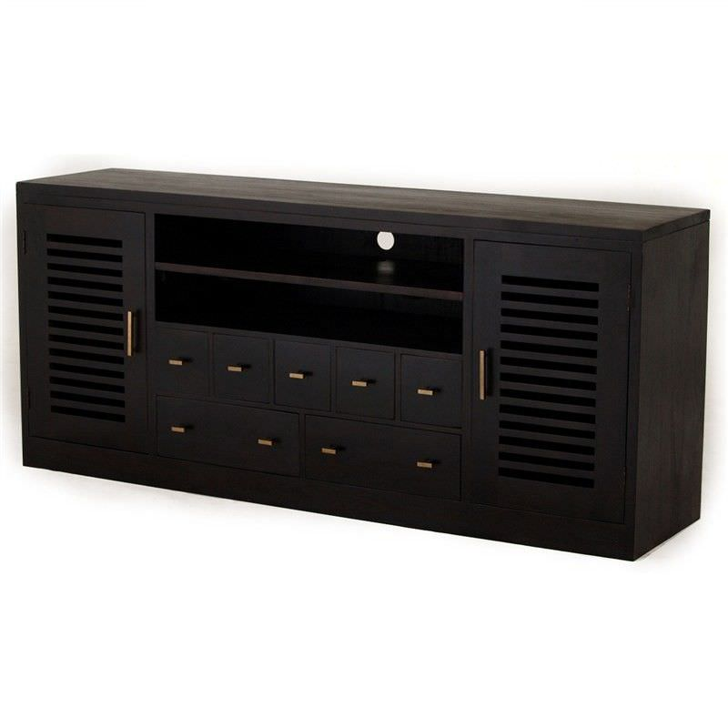 Holland Solid Mahogany 2 Door 7 Drawer Entertainment Unit  in Chocolate