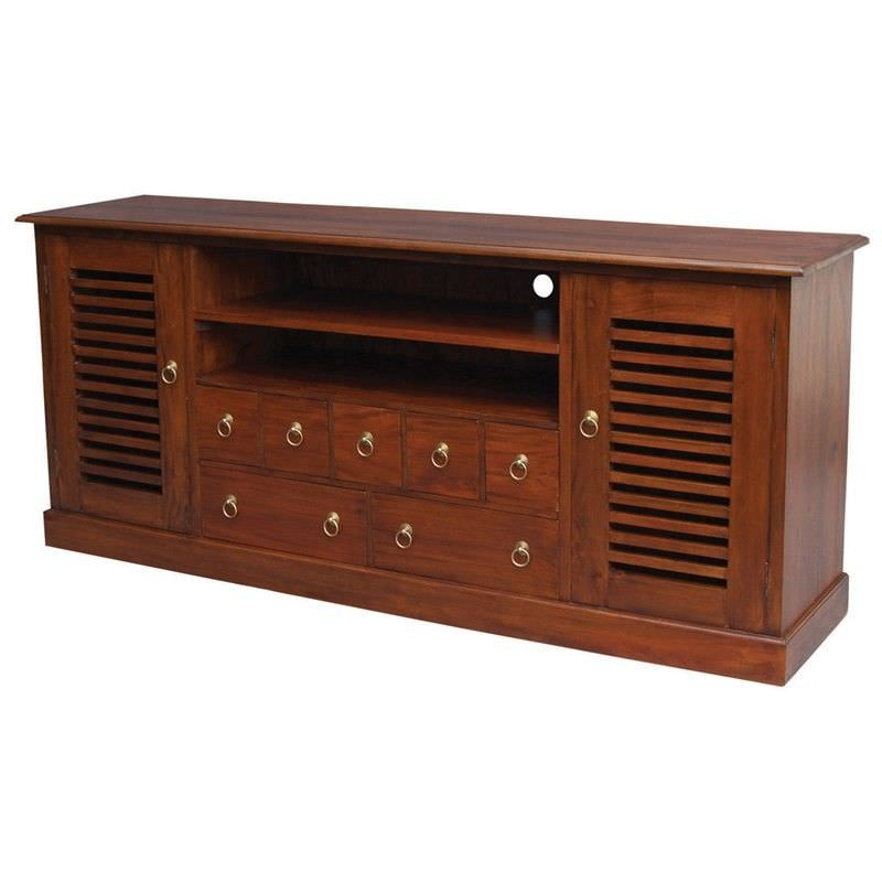 Hawaii Solid Mahogany 2 Door 7 Drawer 187cm Entertainment Unit in Mahogany