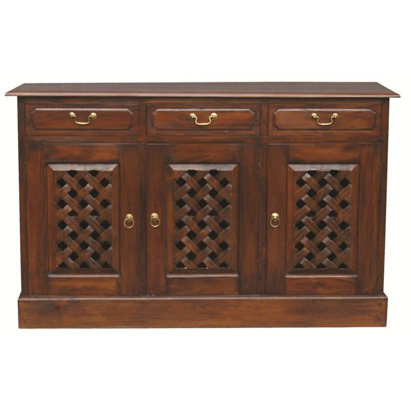 York 3 Drawer + 3 Weave Cupboard Solid Mahogany Sideboard - Mahogany