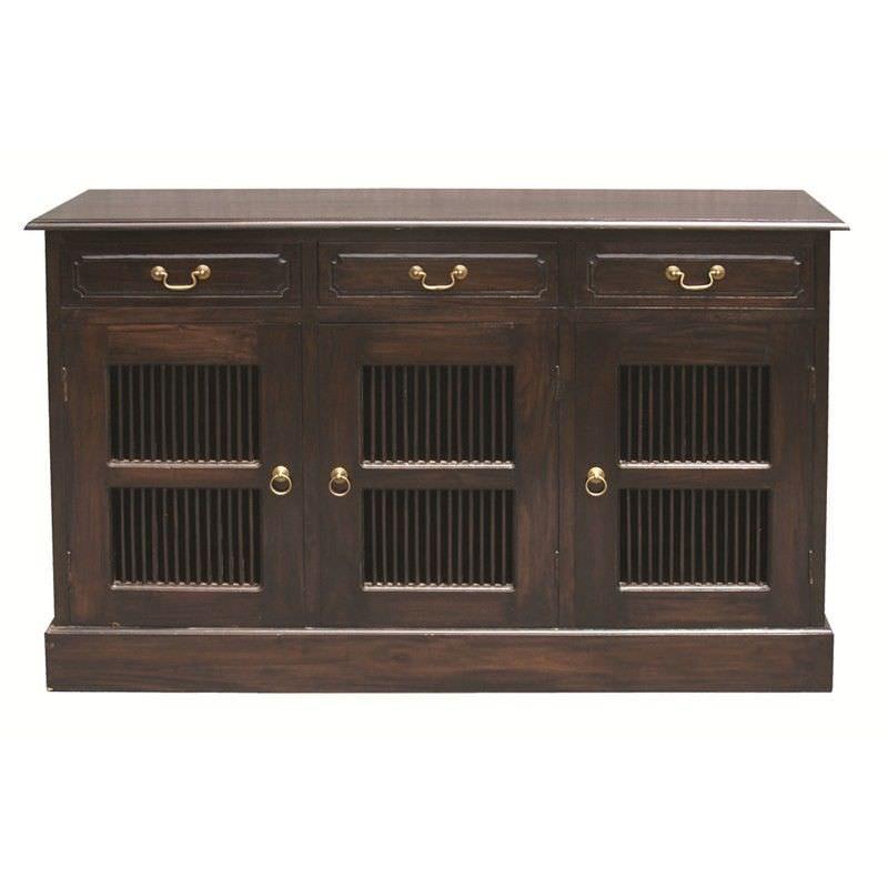 3 Drawer + 3 Slat Cupboard Solid Mahogany Sideboard - Chocolate