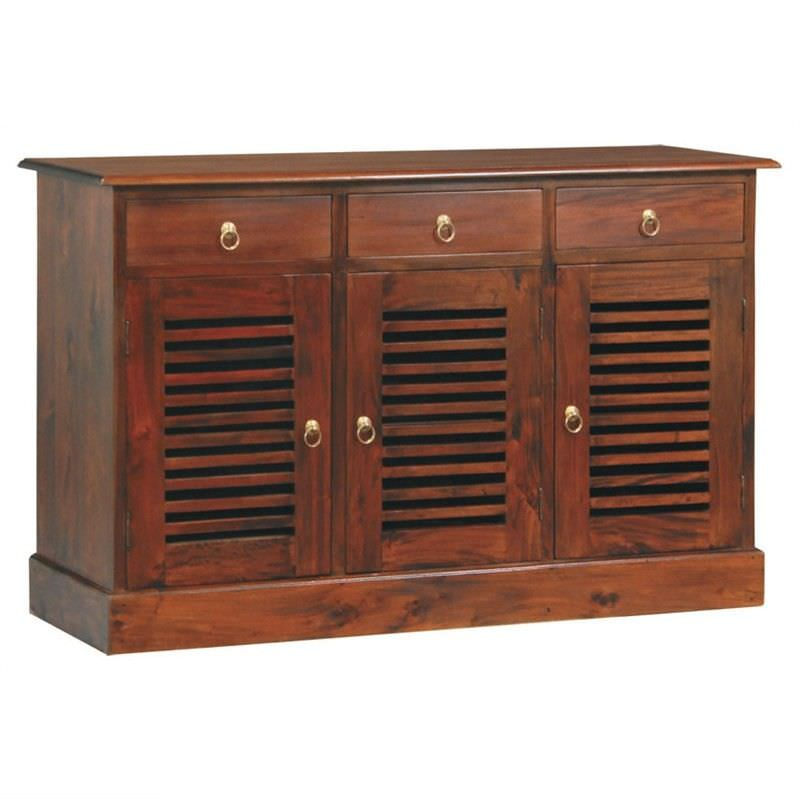 Hawaii Solid Mahogany 3 Door 3 Drawer Buffet in Mahogany