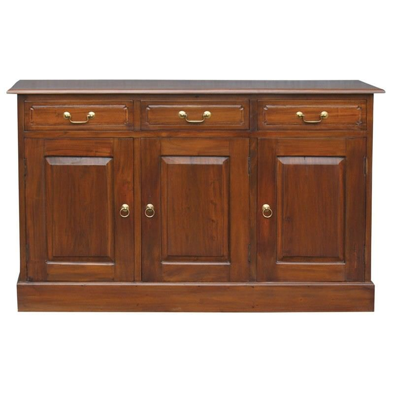 Tasmania Mahogany Timber 3 Door 3 Drawer 145cm Buffet Table, Mahogany
