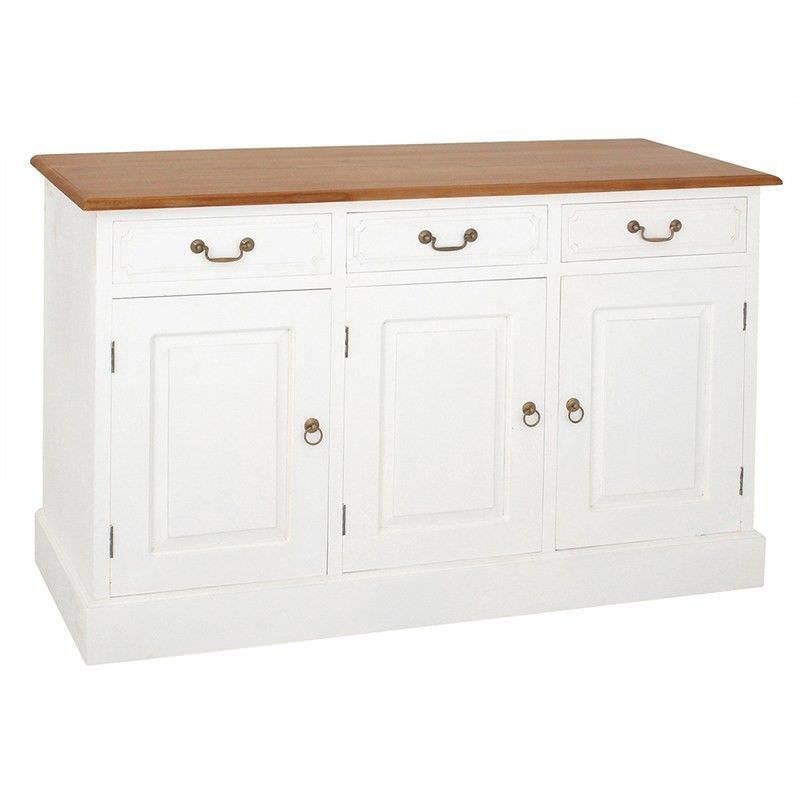 Tasmania Mahogany Timber 3 Door 3 Drawer 145cm Buffet Table, Caramel/White