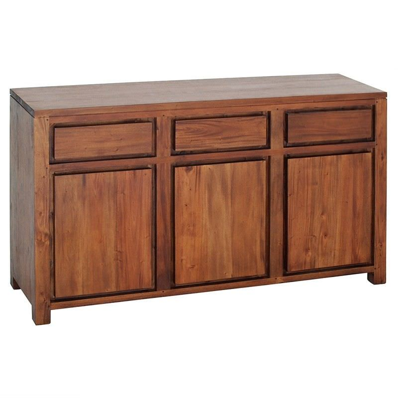 Amsterdam Solid Mahogany Timber 3 Door 3 Drawer 156cm Buffet Table - Light Pecan