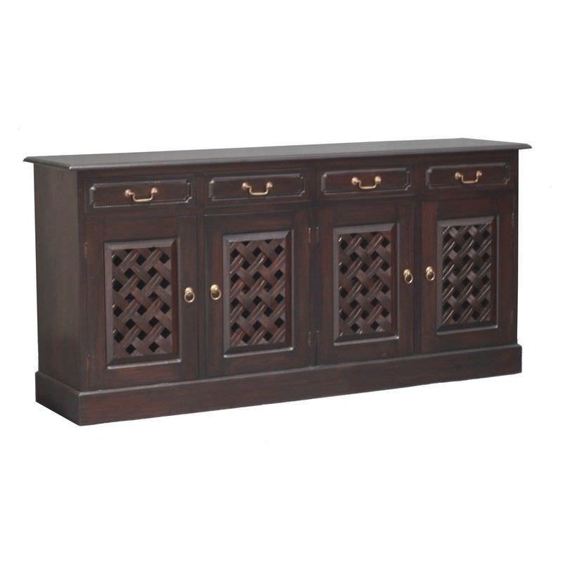 York 5 Drawer + 4 Weave Cupboard Solid Mahogany Sideboard - Chocolate