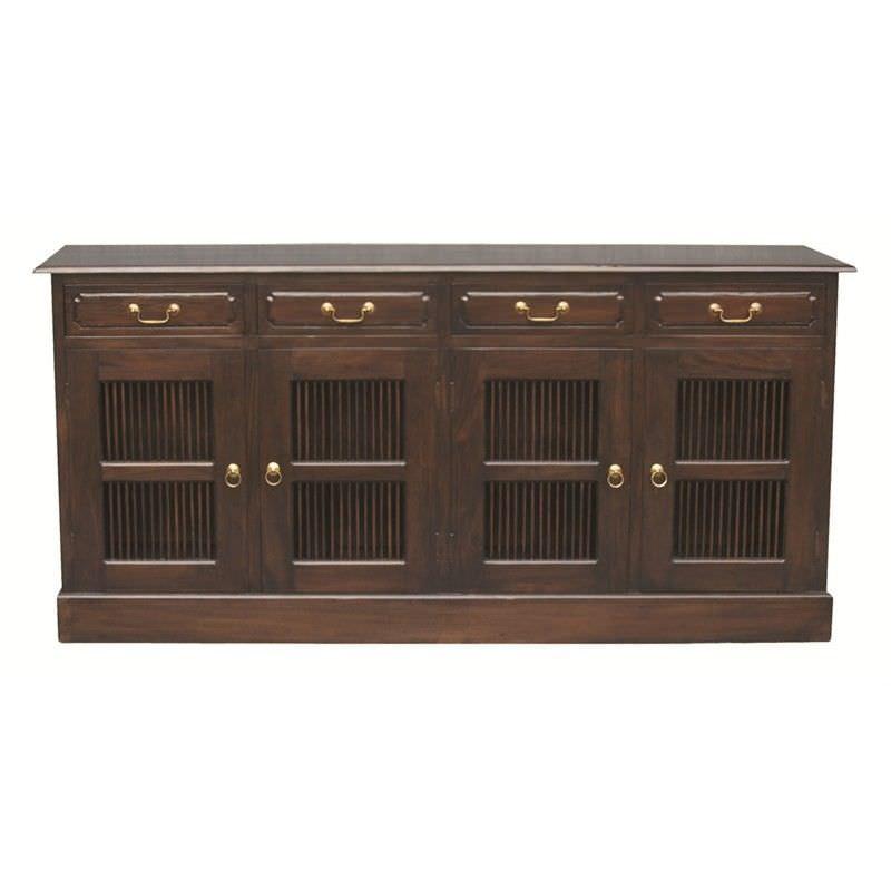 Ruji Solid Mahogany Timber 4 Door 4 Drawer 190cm Sideboard - Chocolate