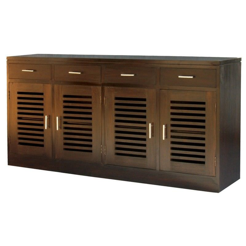 Holland Solid Mahogany 4 Door 4 Drawer Buffet in Chocolate