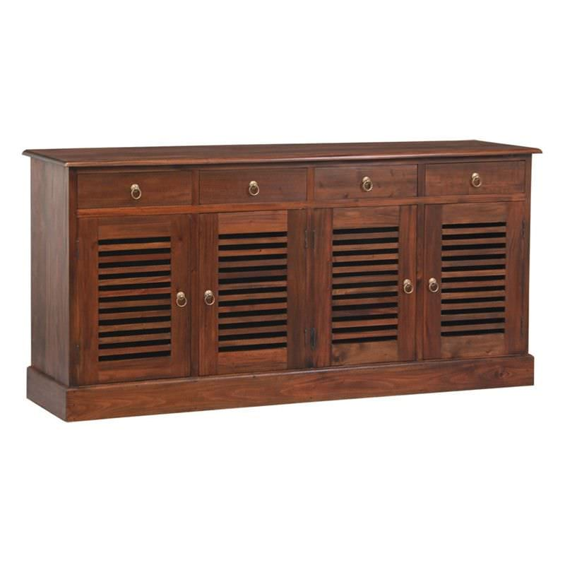 Hawaii Solid Mahogany 4 Door 4 Drawer Buffet in Mahogany