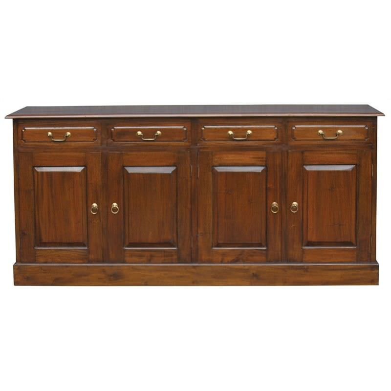 Tasmania Mahogany Timber 4 Door 4 Drawer 190cm Buffet Table, Mahogany